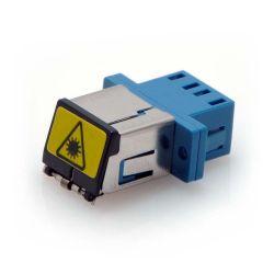 LC Singlemode Duplex Shuttered Fiber Coupler Blue