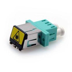 LC OM3/OM4 Multimode Duplex Shuttered Fiber Coupler Aqua
