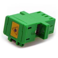 LC Singlemode APC Duplex Shuttered Fiber Coupler Green