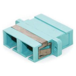 SC/SC Female to Female Duplex Fiber Coupler Aqua