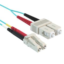 2m 10 Gb LC/SC Duplex 50/125 Multimode Fiber Patch Cable Aqua