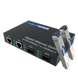 Gigabit Multimode to Singlemode Media Converter with Dual 10/100/1000M Ethernet Ports