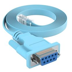 20ft DB9 Female to RJ45 Male Rollover Console Cable for Cisco Baby Blue