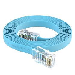 25ft RJ45 to RJ45 Rollover Console Cable for Cisco Baby Blue