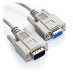 1ft DB9 Male to DB9 Female Straight Through Serial Cable Beige