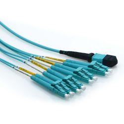 30m MTP to LC for QSFP 50/125 OM4 Plenum Multimode 8 Strand Fiber Cable Aqua