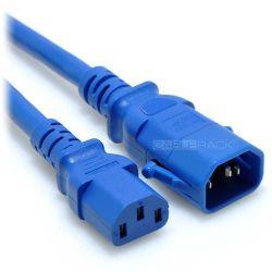2ft IEC60320 C14 P-Lock Locking Plug to C13 Female Connector 14/3 15AMP 250V SJT Power Cord Blue
