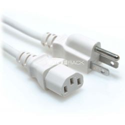 6ft NEMA 5-15P Male Plug to IEC60320 C13 Female Connector 18/3 10AMP 125V SVT Power Cord White