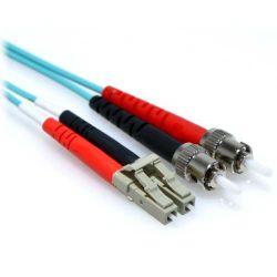 1m 10 Gb Plenum LC/ST Duplex 50/125 Multimode Fiber Patch Cable Aqua