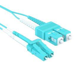 0.5m LC/SC 40/100GB Duplex 50/125 Multimode OM4 Fiber Patch Cable Aqua