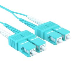 7m SC/SC 40/100GB Duplex 50/125 Multimode OM4 Fiber Patch Cable Aqua