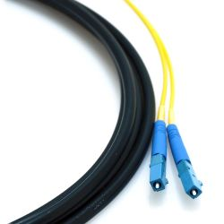 "110m LC/LC 2-Strand Singlemode 9/125 Indoor/Outdoor Fiber Cable with 18"" Furcated Legs and Pull Eye"