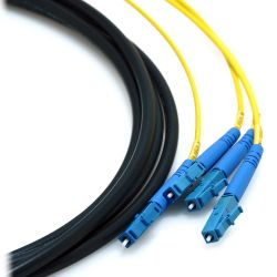 "110m LC/LC 4-Strand Singlemode 9/125 Indoor/Outdoor Fiber Cable with 18"" Furcated Legs and Mesh Pull Sock"