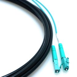 """70m LC/LC 2-Strand OM3 Multimode 50/125 10GB Indoor/Outdoor Plenum Rated Fiber Cable with 18"""" Furcated Legs and Mesh Pull Sock"""