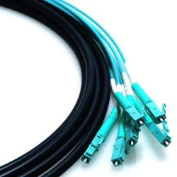 72m LC/LC 24-Strand OM3 50/125 Multimode Fiber Cable with Furcation Tubing 2m Legs and Mesh Pull Sock - Aqua