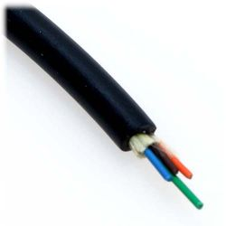 12m LC/LC 2-Strand OM3 50/125 Multimode Indoor/Outdoor Fiber Cable with Furcation Tubing - Black